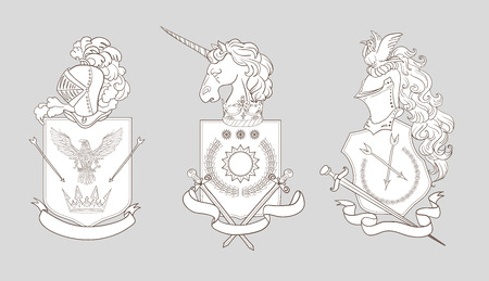 Vector heraldry emblem collection. Coat of arms template.