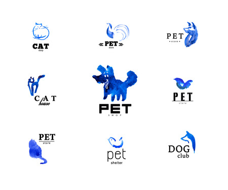 fascinated: Set of watercolor animal logo ixolated on white background. Hand drawn blue colored logo design for pet industry. Cute animal illustrations. Stock Photo
