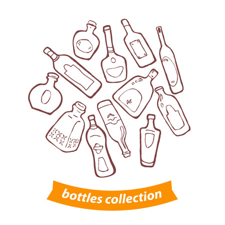 balsam: Vector collection of different shaped bottles.