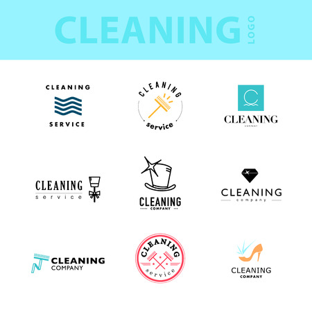 room service: Vector collection of flat logo for cleaning company. Clearing service insignia. Cleaning industry flat icons.