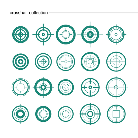 cross armed: Vector collection of target flat icons. Crosshairs group. Aims isolated.