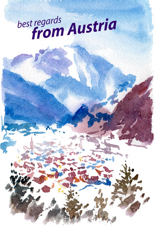mountin: Vector watercolor illustration of Austria sightseeings with text place; small winter mountin touristic town. Good for warm memory postcard design; any graphic design or book illustration.