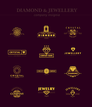 fashion jewellery: Vector collection of jewellery and diamond logos. Flat crystal company insgnia template. Vintage logo design.