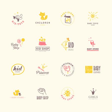 아기 로고의 벡터 컬렉션입니다. 키즈 패션 라벨 디자인. 어린이 브랜드 의류. 아기와 아이 저장소 휘장 템플릿입니다.