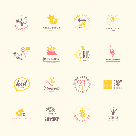 Vector collection of baby logo. Kids fashion label design. Children clothes brand. Baby and kid store insignia template. Archivio Fotografico