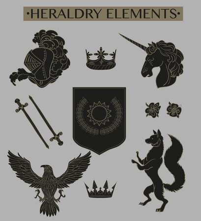 coat of arms  shield: Vector heraldry emblem collection. Coat of arms template.