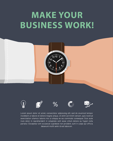 article marketing: Vector flat business illustration of marketing strategy with hand, watch, marketing icons and text message. Good for magazine, journal or internet article.