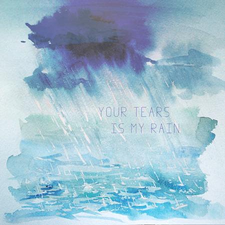Vector aquarel illustratie van de regen in de zee met de tekst plaats. Goed voor kaart ontwerp og boekillustratie.