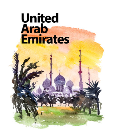 night and day: Vector watercolor illustration of United Arab Emirates castle view on sunset sightseeings with text place. Good for warm memory postcard design, any graphic design or book illustration. Stock Photo