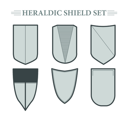 honor guard: Vector heraldic shield set on white background. Heraldry template.