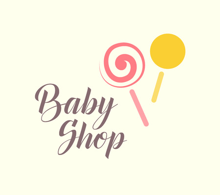 clothing stores: Hand drawn vector sample of baby logo. Kids fashion label design. Children clothes brand. Baby and kid store insignia.