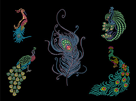 peacock feathers: Rhinestone picture of peacock set on black background. Hand made rhinestone pattern. Bird character illustration. Good for print design or placard template.