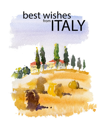 mediterranean houses: Vector watercolor illustration of Italy village shield country side sunny summer nature with text place. Good for warm memory postcard design, any graphic design or book illustration.