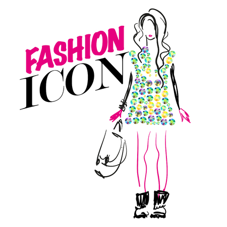 rhinestone: Vector portrait of stylish girl on white background with text. Fashion illustration. Rhinestone applique and picture element.