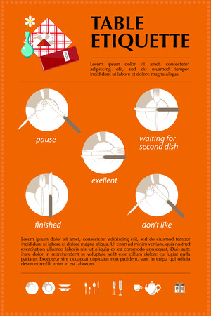 with sets of elements: Vector flat food service illustration with table etiquette and signed sets of dish elements, knife, fork, text design on bright orange background. Stock Photo