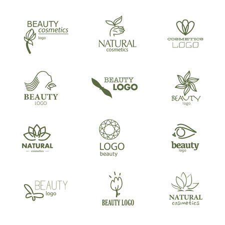 organic spa: Set of beauty industry and fashion logo. Identity for beauty companies, ecological cosmetics business, natural beauty centers or spa salons. Also may be used for wellness centers or yoga and medicine companies and clinics.