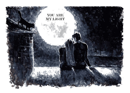 nighttime: Black and white watercolor vector illustration of loving couple sitting on the roof and looking on the moon under stars in the night sky with text place. Good for memory card design or book illustration.