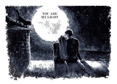 Zwart-wit aquarel vector illustratie van verliefde paar zittend op het dak en het kijken op de maan onder de sterren in de nachtelijke hemel met de tekst plaats. Goed voor het geheugen kaart ontwerp of een boek illustratie.