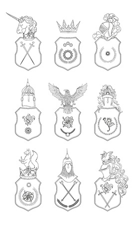 cross and eagle: Vector heraldry emblem collection. Coat of arms template.