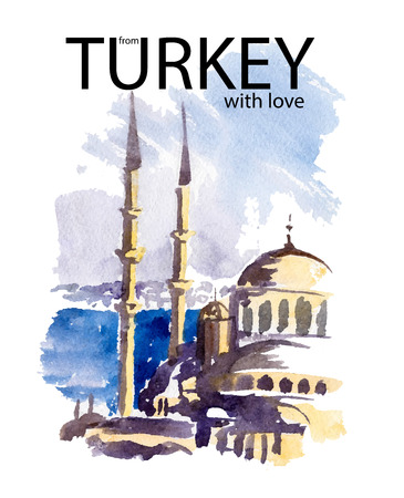 regards: Vector watercolor trip illustration of Turkey cityscape with text place. Travel best regards postcard design. Beautiful view with ancient castle, buildings and sea on blue sky. Stock Photo