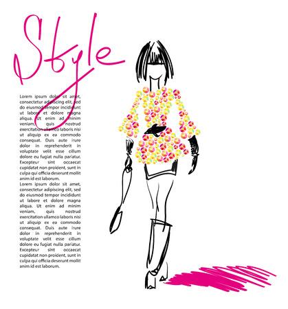 rhinestone: Portrait of stylish girl on white background with text. Fashion illustration. Rhinestone applique and picture element.