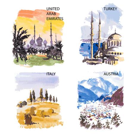 reise retro: Aquarell-Illustration Sightseeing locales mit Platz für Text auf weißem Hintergrund.