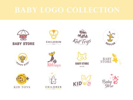 아기: 아기 로고의 벡터 컬렉션입니다. 키즈 패션 라벨 디자인. 어린이 브랜드 의류. 아기와 아이 저장소 휘장 템플릿입니다.
