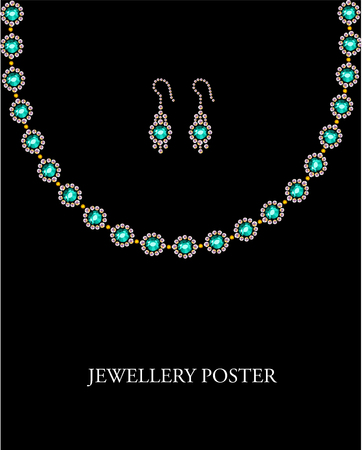text space: Rhinestone picture of jewellery set of necklaсe and earings with text space on black background. Poster design. Rhinestone pattern. Stock Photo
