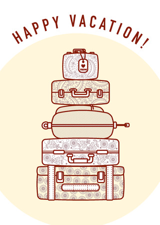 maleta: Ilustración del vector de la pirámide de maletas de viaje y bolsos con el mensaje de texto. Accidente cerebrovascular bolsas iconos, diseño plana. postal plantilla caliente. Foto de archivo