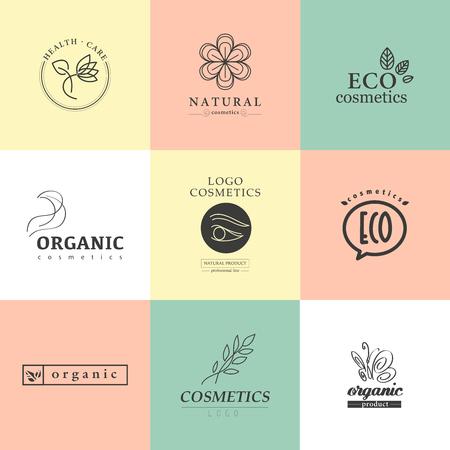 화장품 로고의 정체성 템플릿 벡터 컬렉션입니다. 자연 및 환경 제품 라벨. 유기농 화장품과 건강 관리 휘장.