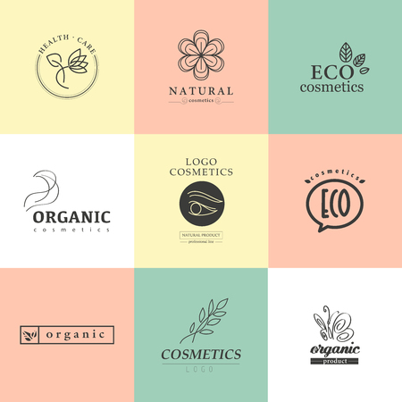 Vector collection of cosmetics logo identity templates. Natural and eco product label. Organic cosmetics and health care insignia. 版權商用圖片