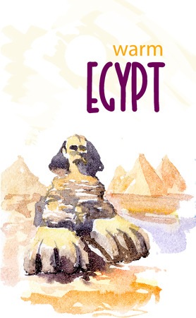sightseeings: Watercolor illustration of egypt sightseeings with text place. Good for warm memory postcard design, any graphic design or book illustration. Stock Photo