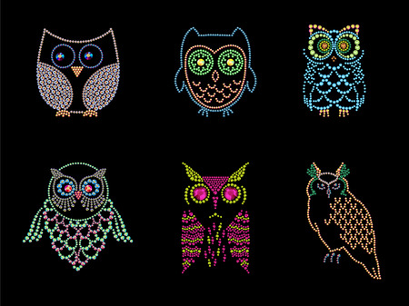 Rhinestone picture of cute owls isolated on black background. Hand made rhinestone pattern. Bird character illustration.