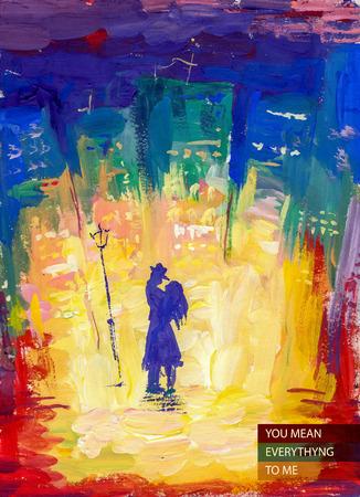 Vector aquarel illustratie van jonge verliefde paar dat zich bij het licht op de straat in de nacht stad. met tekst plaats. Goed voor het geheugen postkaart ontwerp of boekillustratie. Stockfoto