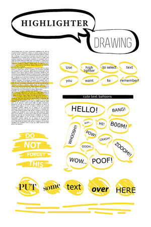 Vector set of hand drawn doodle elements. Text bubbles and balloons, frames and arrows isolated on light backdrop. Colorful paint drops. Elements for comic art design.. 版權商用圖片