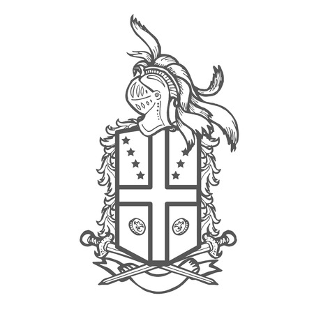 shielding: Vector heraldic royal crests coat of arms. Heraldry template on white background.