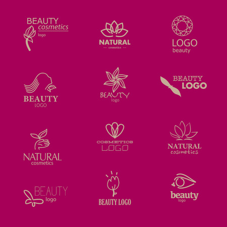 centers: Set of beauty industry and fashion logo. Identity for beauty companies, ecological cosmetics business, natural beauty centers or spa salons. Also may be used for wellness centers or yoga and medicine companies and clinics.