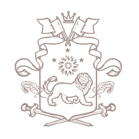 Vector heraldic royal crests coat of arms. Heraldry template on white background.