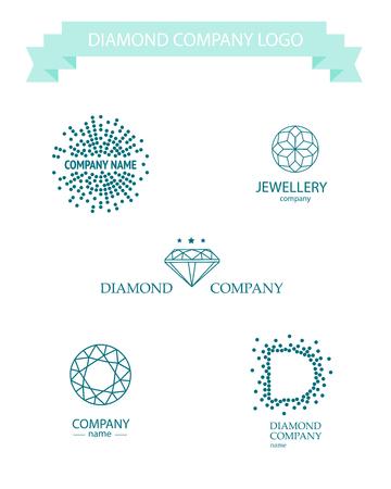 pietre preziose: set di diamante del vettore logo. Gioielli logo collezione. società strass.