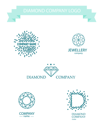 precious stones: Vector diamond logo set. Jewellery logo collection. Rhinestone company.