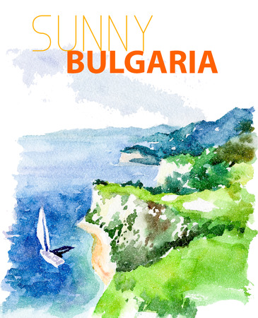 sightseeings: Vector watercolor illustration of sunny bulgaria sea coast sightseeings with text place. Good for warm memory postcard design, any graphic design or book illustration.