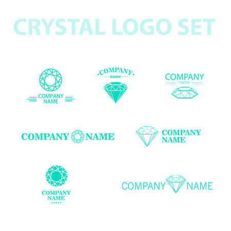 rhinestone: Vector diamond logo set. Jewellery logo collection. Rhinestone company.