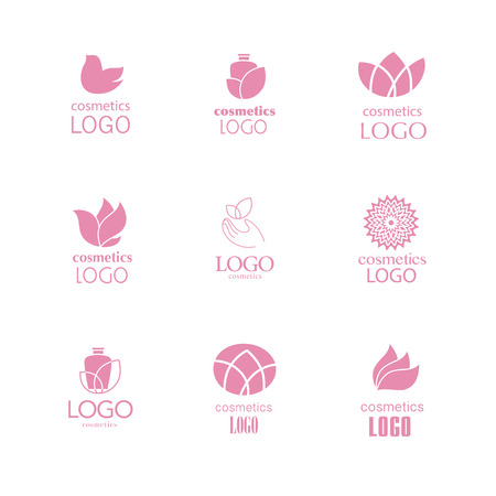 be the identity: Set of beauty industry and fashion logo. Identity for beauty companies, ecological cosmetics business, natural beauty centers or spa salons. Also may be used for wellness centers or yoga and medicine companies and clinics.