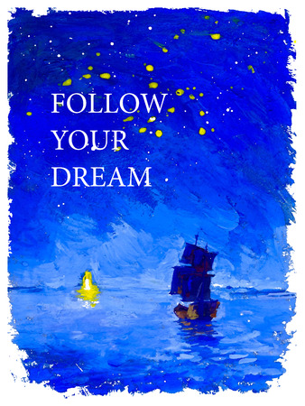 nighttime: Vector postcard design with watercolor illustration of ship sailing across the sea towards lighthouse under the night sky with text place. Good for memory card ir book illustration.