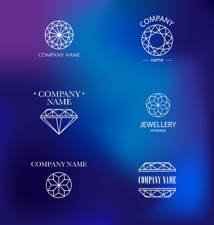 crystals: Vector diamond logo set. Jewellery logo collection. Rhinestone company.