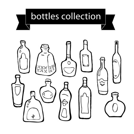black stroke: Vector collection of different shaped bottles on white background. Black stroke. Black contour.