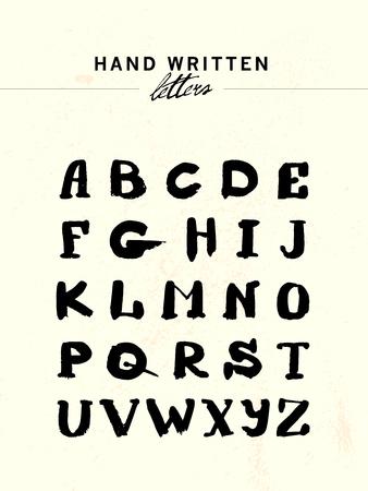upper case: Vector hand written letters. Hand drawn alphabet: upper case. Isolated letters written with brush.