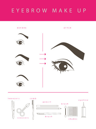 Vector flat eyebrow make up illustration. Cosmetics icons and make up elements template isolated on white background.