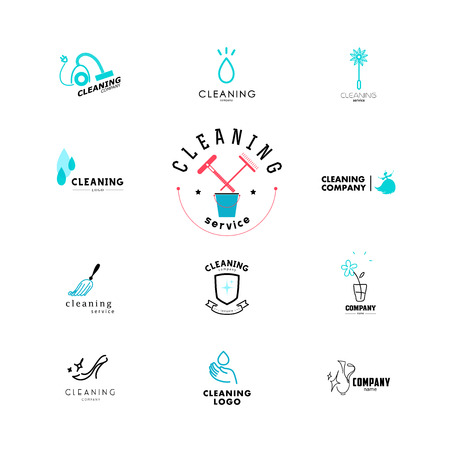 Vector collection of flat logo for cleaning company. Clearing service insignia. Cleaning industry flat icons.