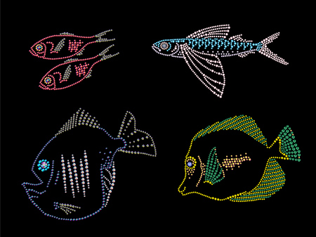pilchard: Rhinestone picture of group of fish. Rhinestone patter on black background.